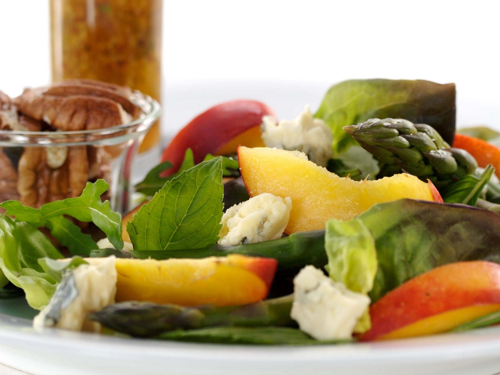 Nectarine and blue cheese salad