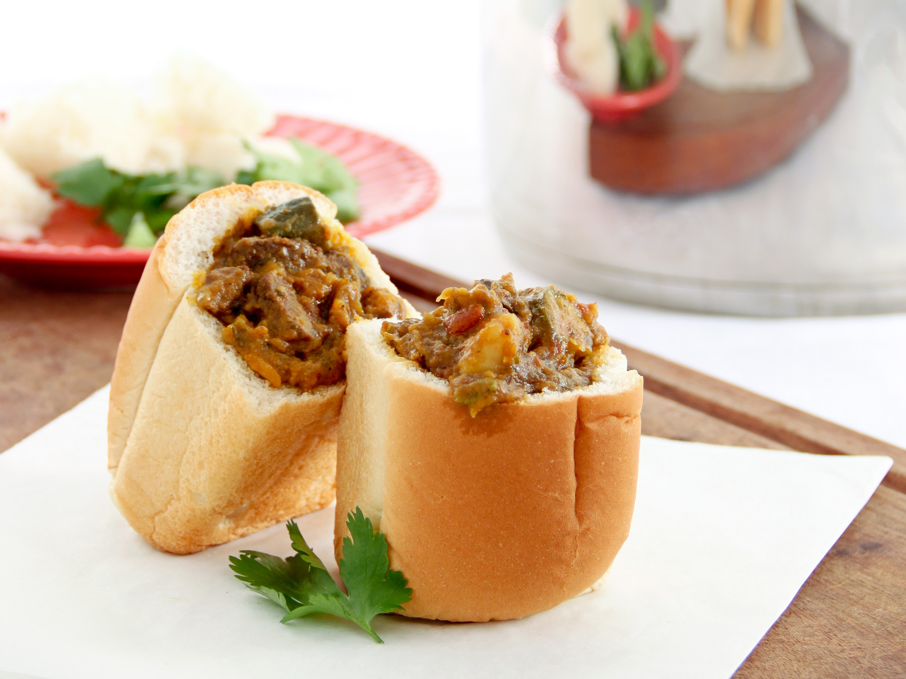 mutton curry bunny chow in a mini loaf using AMC Speedcooker