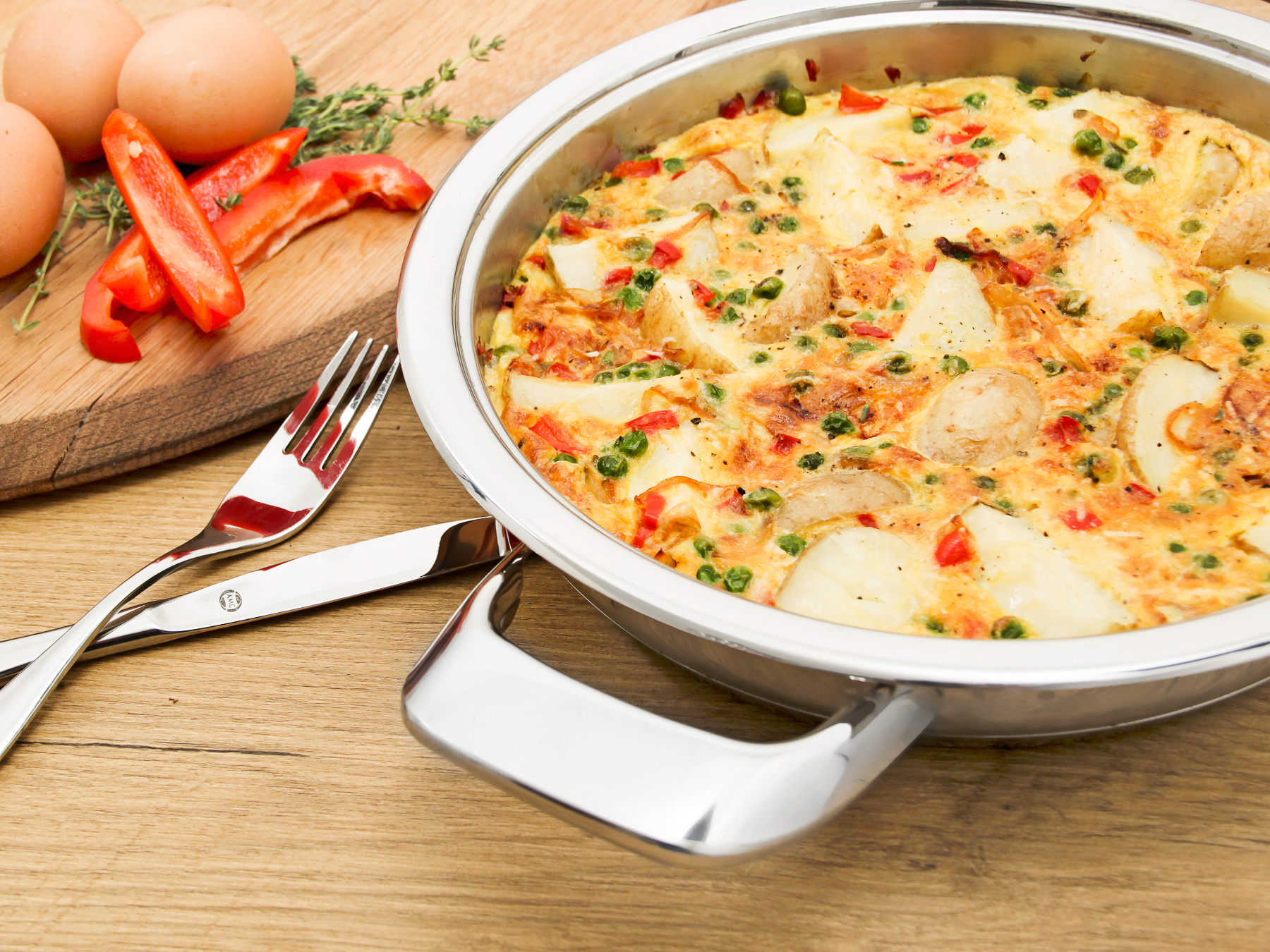 baby potato and parmesan frittata in AMC Synergy 24cm skilletbaby potato and parmesan frittata in AMC Synergy 24cm skillet