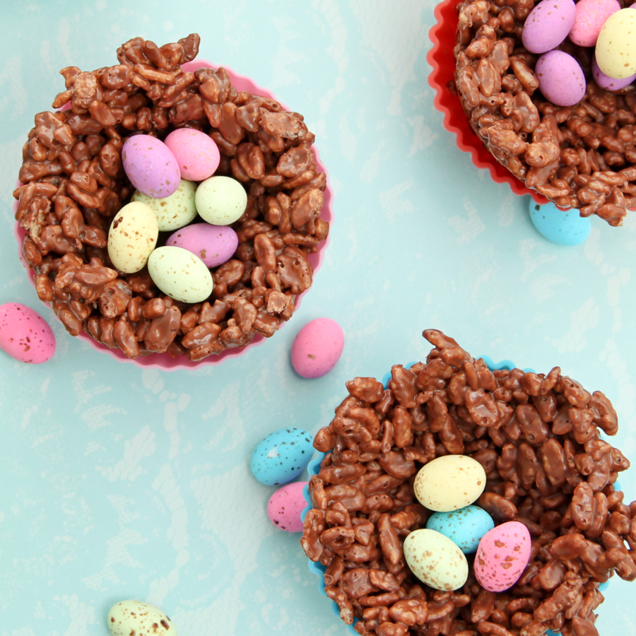 chocolate rice crispy nests with speckled eggs