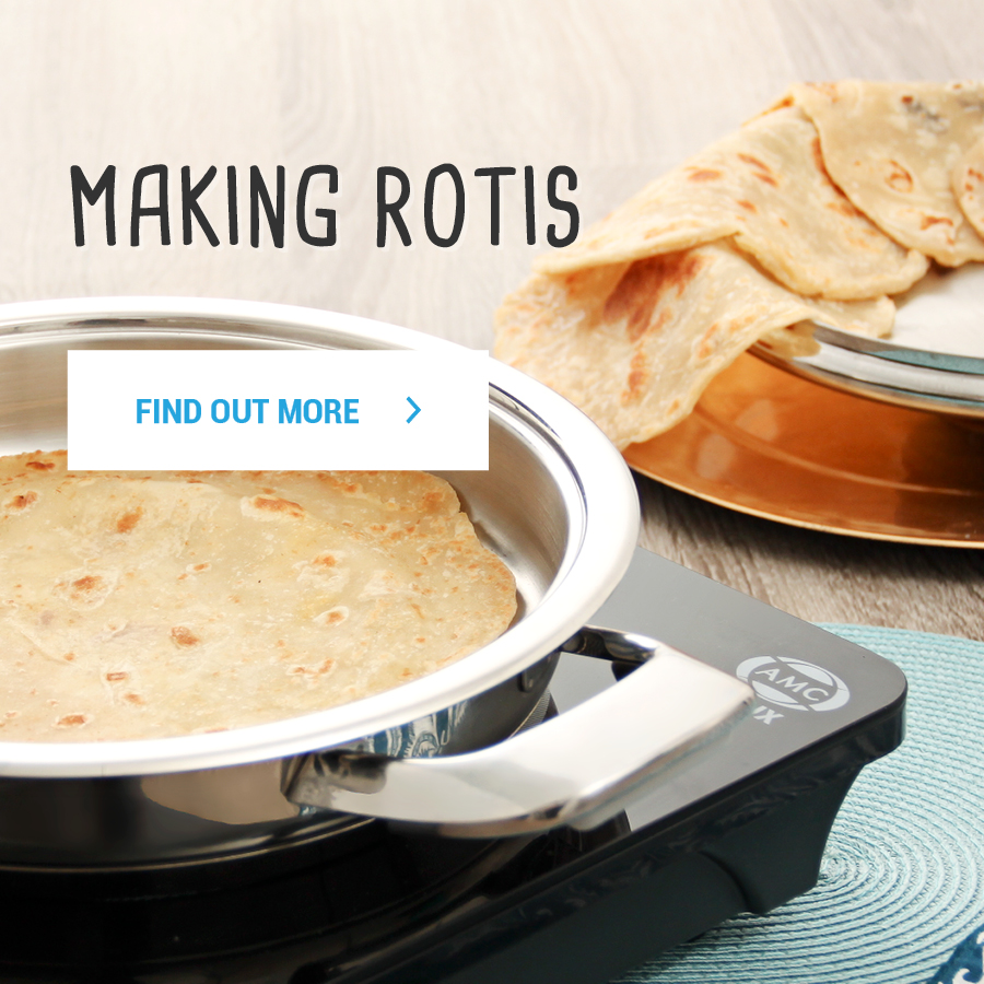 Making rotis in an AMC Synergy Skillet on an AMC Flux induction cooker