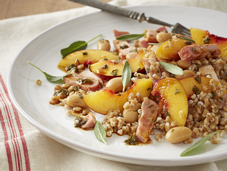 PEARLED WHEAT SALAD WITH KASSLER, BEANS AND FRUIT