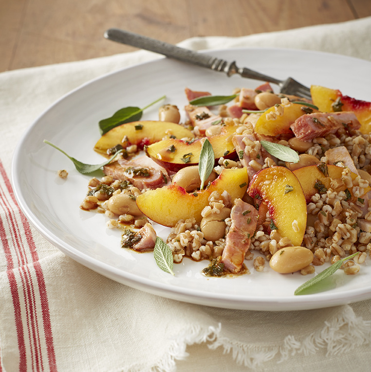 Pearled wheat salad with kassler, beans & fruit