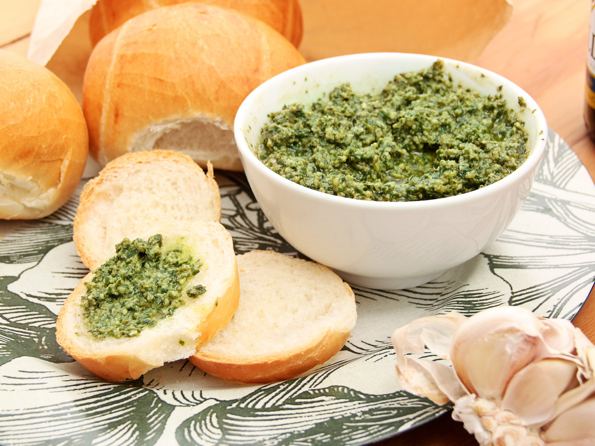 basil pesto on fresh rolls