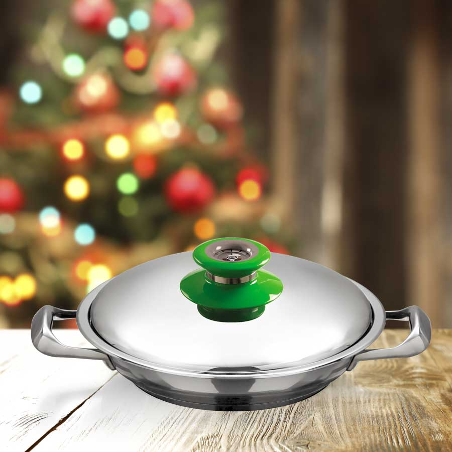 AMC 24 cm Chef's Pan with green Visiotherm