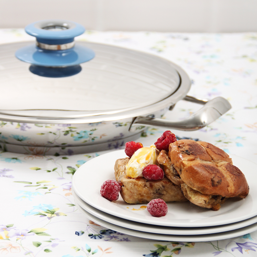 Hot cross bun french toast in AMC Cookware