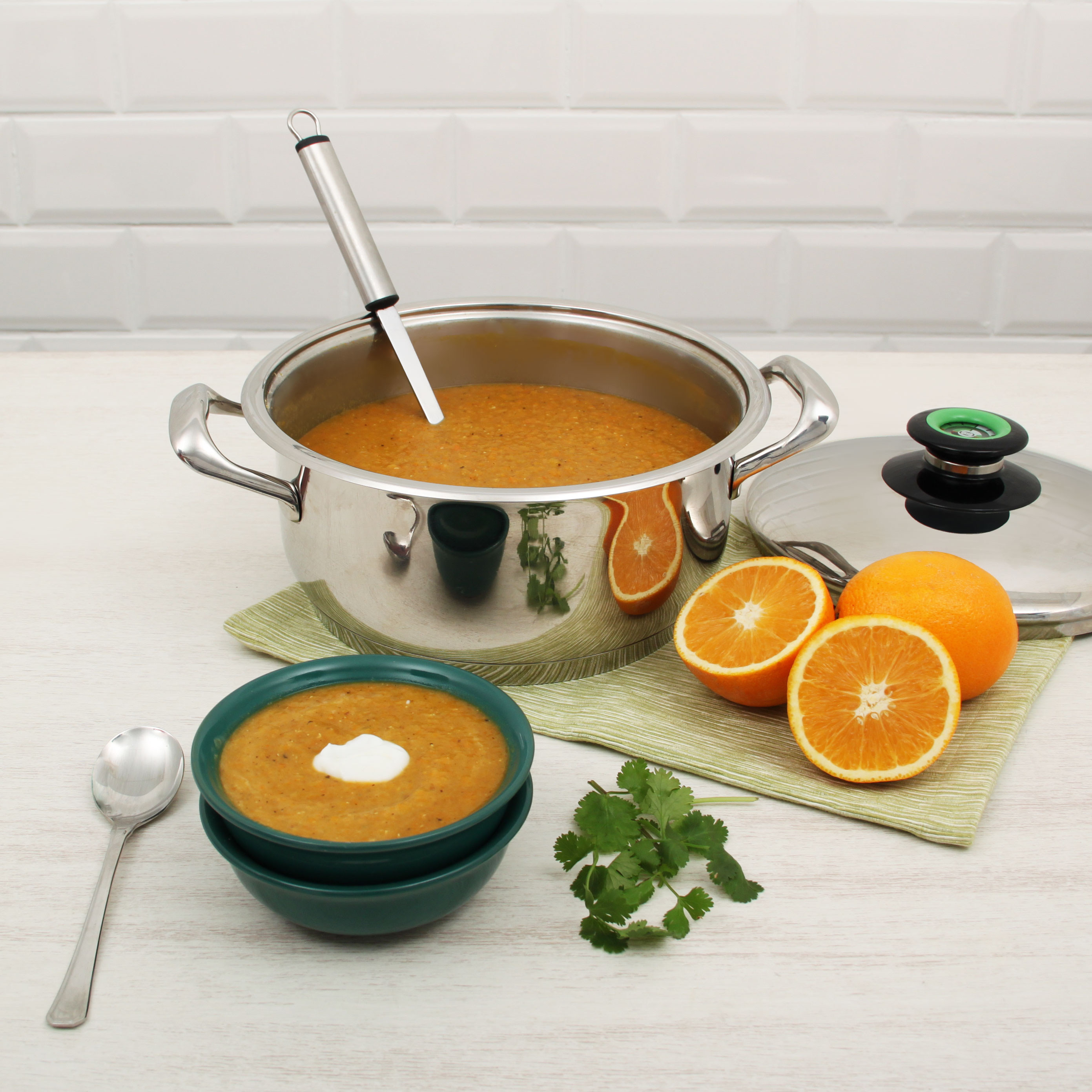 Carrot, lentil & orange soup