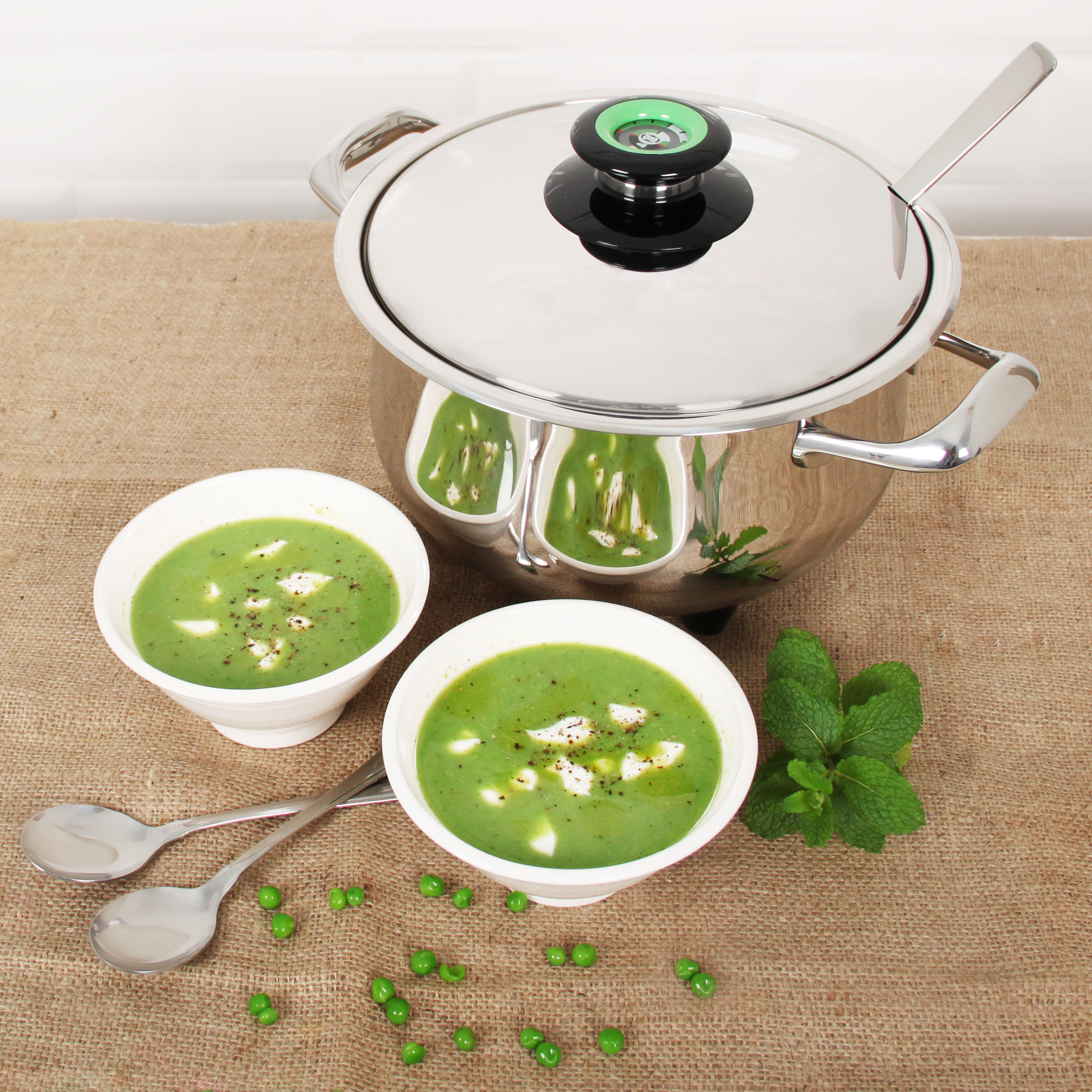 Pea & mint soup in the AMC Soup Tureen