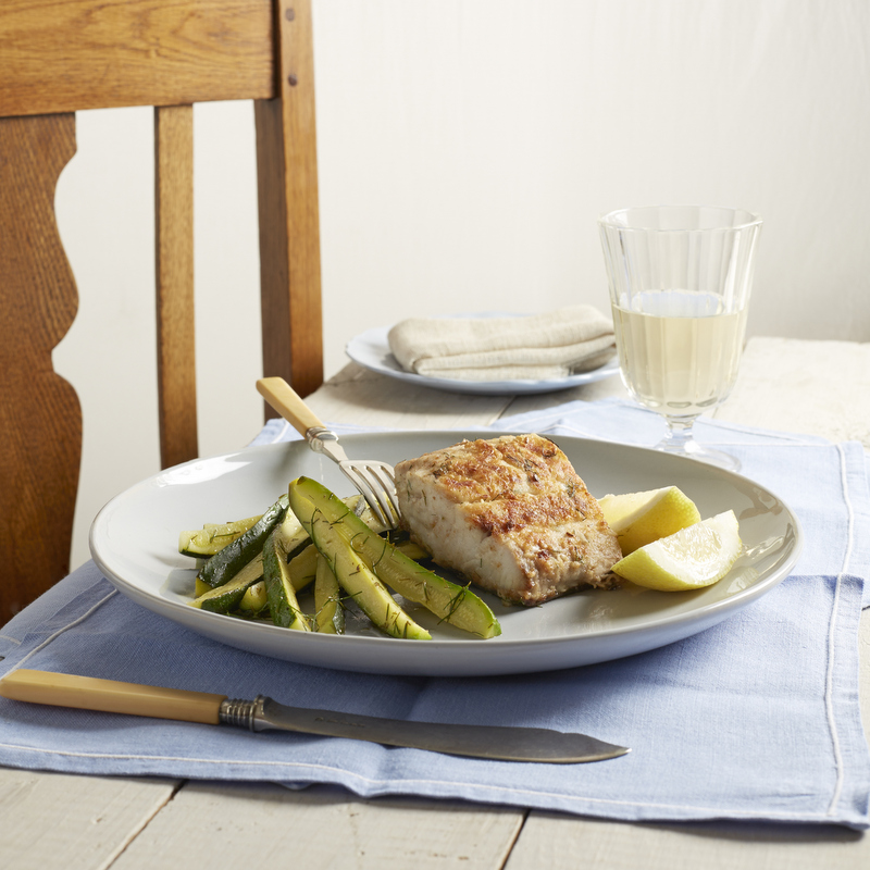 Fish in a pan & steamed baby marrows with dill