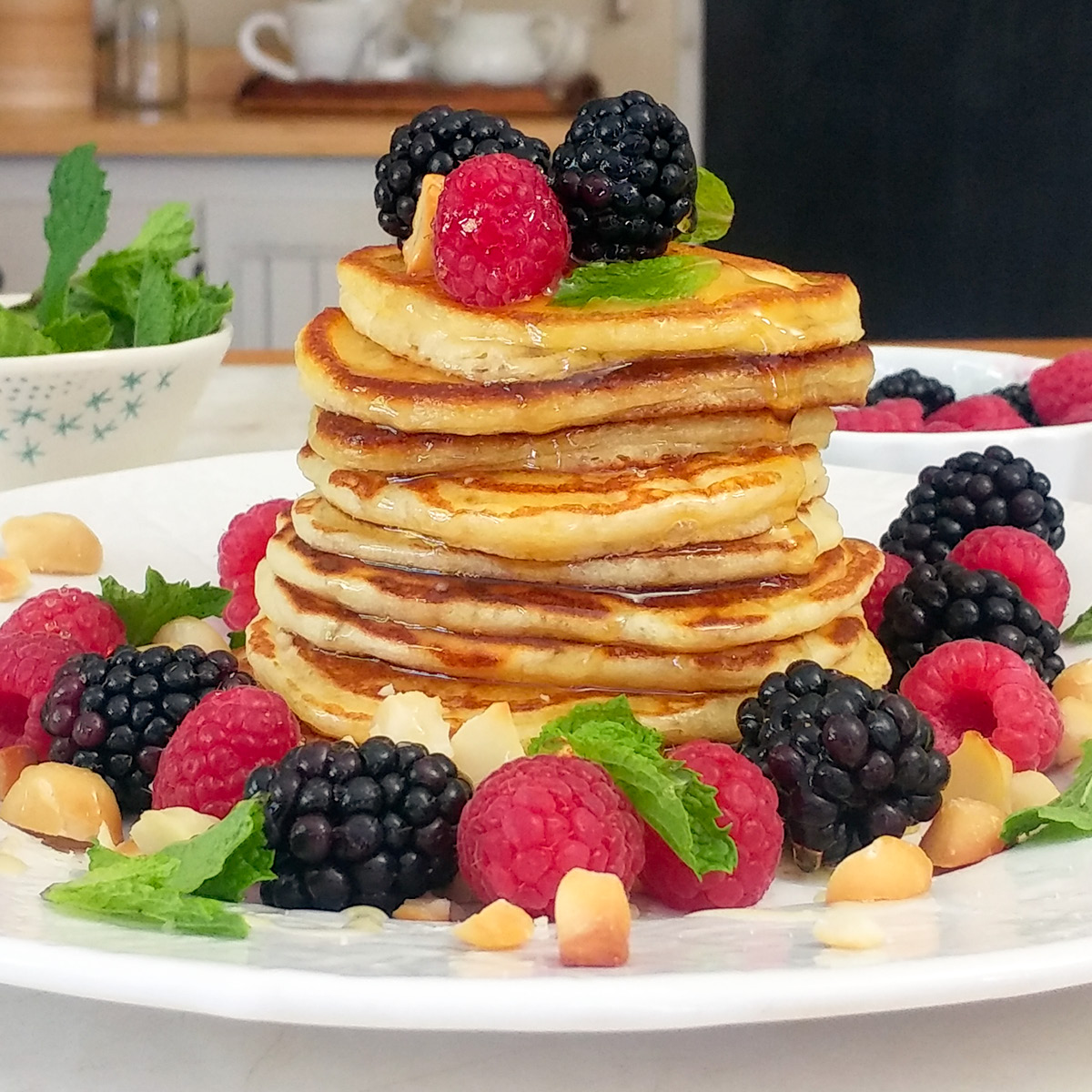 Crumpet stack with berries