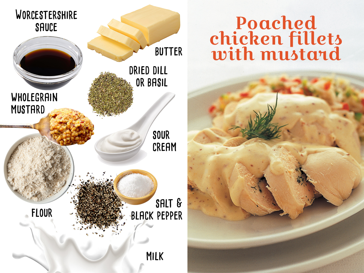 Poached chicken fillets with a mustard sauce