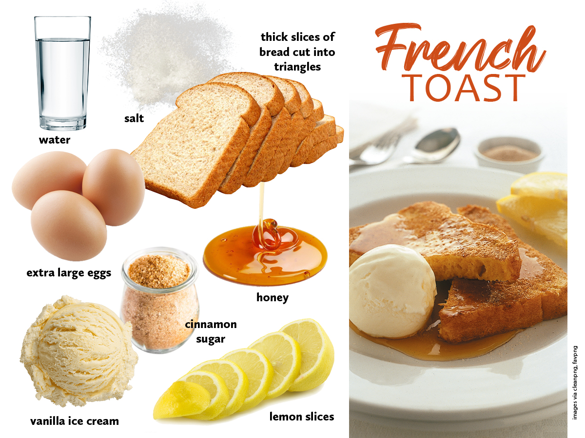 French toast with ingredients