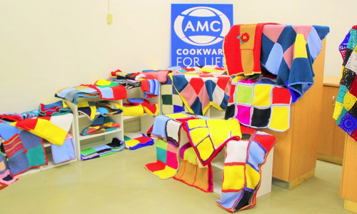 Blankets knitted by AMC Staff