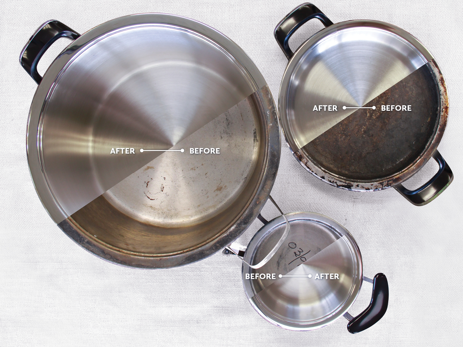 Cookware before and after repolishing